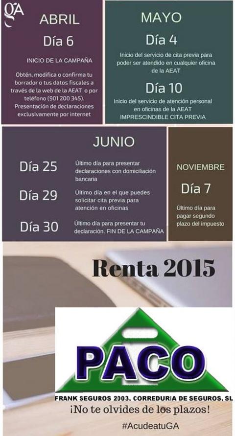 Frank Asesores -  Calendario para presentar la renta en 2016 - Frank Asesores
